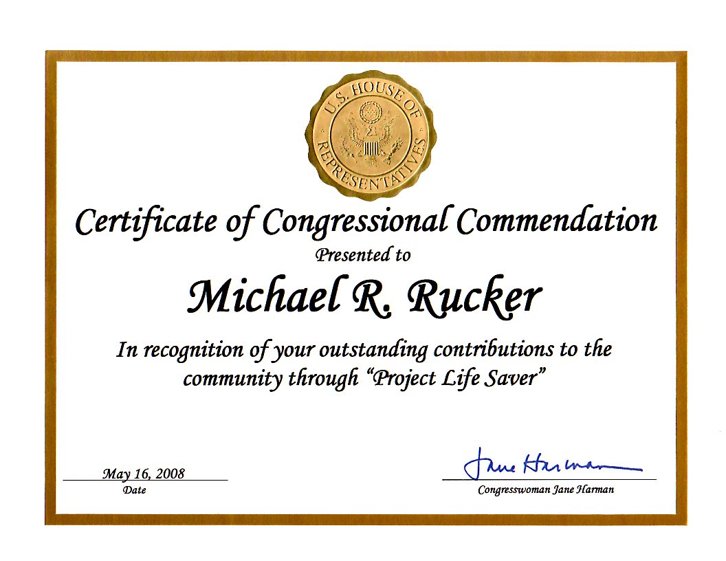 Certificate of Congressional Commendation for Michael Rucker