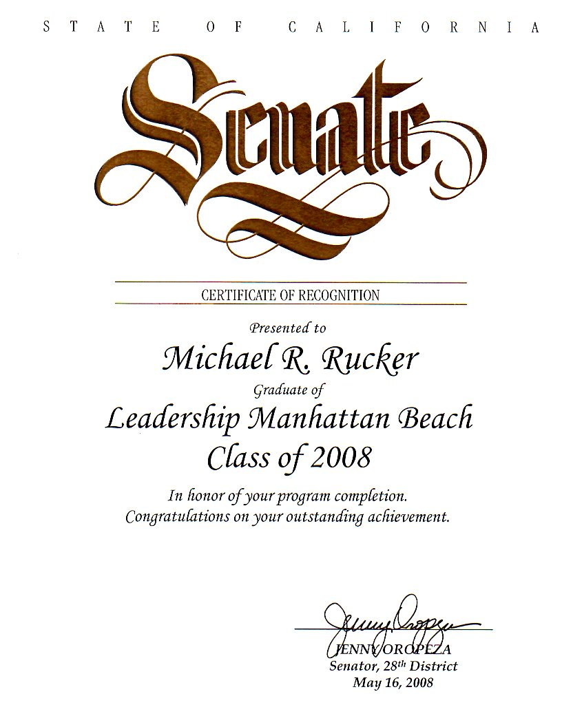 Certificate of Recognition from the California State Senate for Michael Rucker